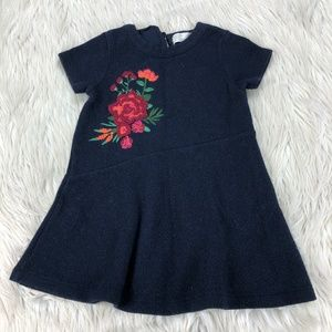 Zara Girls Floral Embroidered Sweater Dress